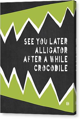 Canvas Print featuring the painting See You Later Alligator by Lisa Weedn