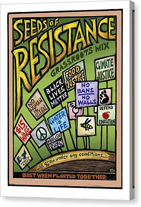 Seed Canvas Print - Seeds Of Resistance by Ricardo Levins Morales