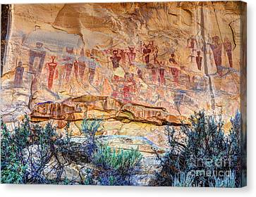Sego Canyon Indian Petroglyphs And Pictographs Canvas Print by Gary Whitton