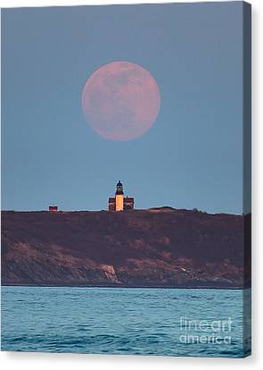 Seguin Island Lighthouse Ghost Moon Canvas Print by Benjamin Williamson