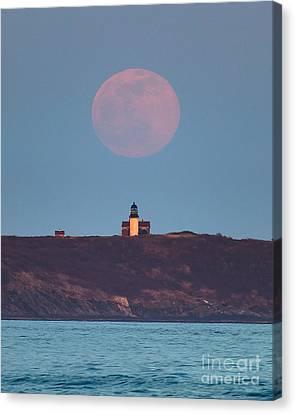Seguin Island Lighthouse Ghost Moon Canvas Print