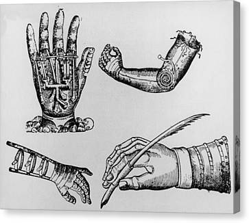Selection Of 16th Century Artificial Arms & Hands. Canvas Print by Dr Jeremy Burgess.