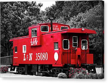 Selective Color Red Caboose Canvas Print