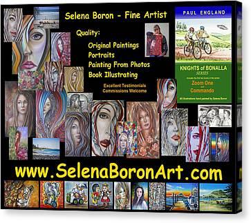 Canvas Print featuring the painting Selena Boron Photo Card 1 by Selena Boron