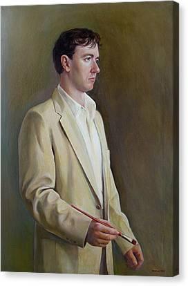 Canvas Print featuring the painting Self-portrait 1998 by Svitozar Nenyuk