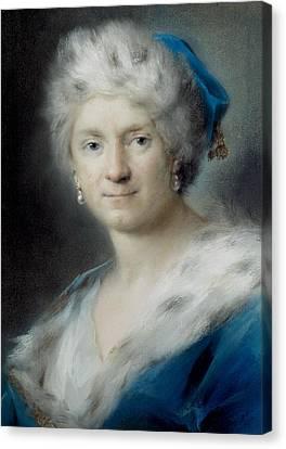 Self-portrait As Winter Canvas Print by Rosalba Carriera