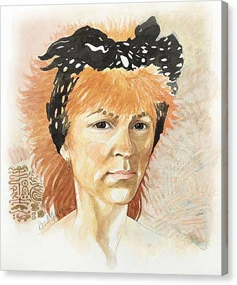 Self Portrait At 45 Canvas Print by Roz McQuillan