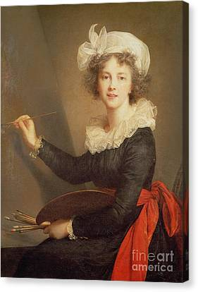 Artist At Easel Canvas Print - Self Portrait by Elisabeth Louise Vigee-Lebrun