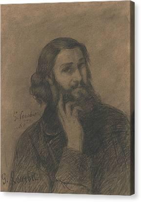 Self-portrait Canvas Print - Self-portrait by Gustave Courbet