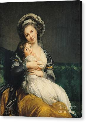 Self Portrait In A Turban With Her Child Canvas Print by Elisabeth Louise Vigee Lebrun
