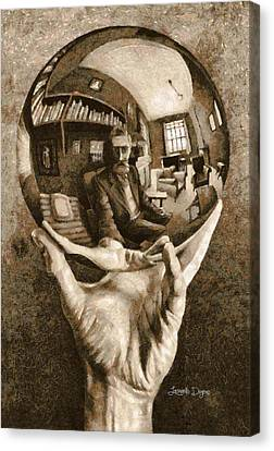 Shelf Canvas Print - Self-portrait In Spherical Mirror By Escher Revisited - Da by Leonardo Digenio