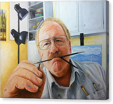 Canvas Print featuring the painting Self Portrait by Mike Ivey