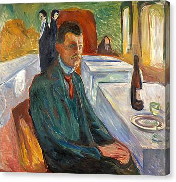 Self-portrait With A Bottle Of Wine Canvas Print by Edvard Munch