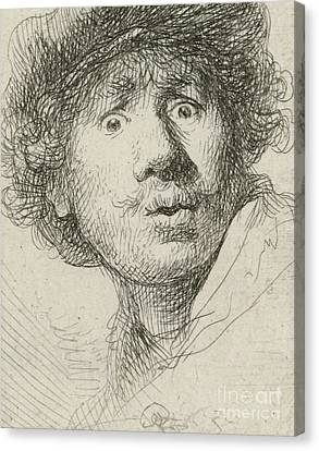 Self-portrait Canvas Print - Self-portrait With Beret And Wide-eyed, 1630 by Rembrandt