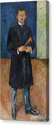 Munch Canvas Print - Self-portrait With Brushes by Edvard Munch