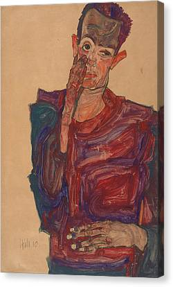 Self-portrait Canvas Print - Self-portrait With Eyelid Pulled Down by Egon Schiele