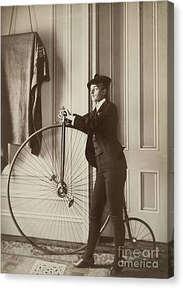 Self-portrait With False Moustache And Penny-farthing Canvas Print by Celestial Images