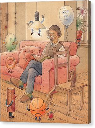 Self-portrait With My Things Canvas Print by Kestutis Kasparavicius
