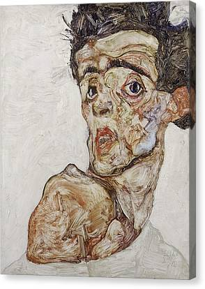 Self-portrait With Raised Bare Shoulder 1912 Canvas Print by Egon Schiele