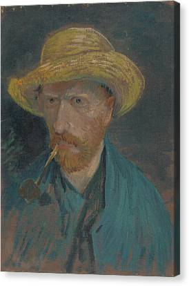 Van Goghs Ear Canvas Print - Self-portrait With Straw Hat And Pipe by Vincent van Gogh