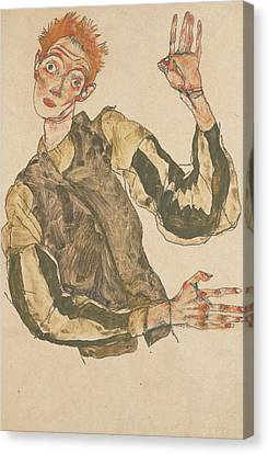 Self-portrait Canvas Print - Self-portrait With Striped Armlets by Egon Schiele