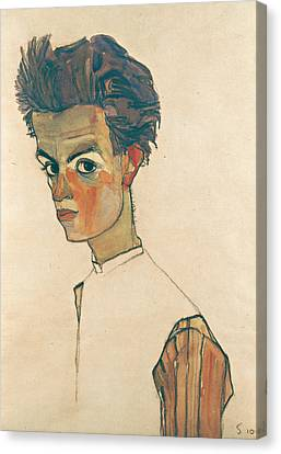 Self-portrait With Striped Shirt Canvas Print by Egon Schiele