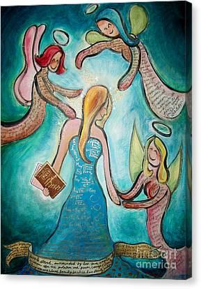 Self Portrait With Three Spirit Guides Canvas Print by Carola Joyce