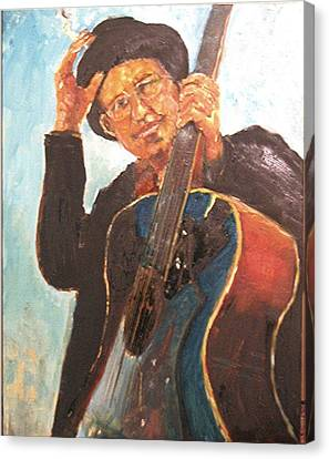 Self Potrait As Bob Dylan  Canvas Print by Udi Peled