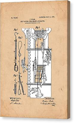 Fire Escape Canvas Print - Self Saving Fire Escape Apparatus 1905 by Ray Walsh