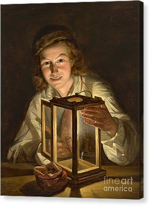 Selfportrait With A Lantern Canvas Print
