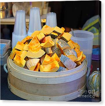 Canvas Print featuring the photograph Selling Fresh Pumpkin Shakes by Yali Shi
