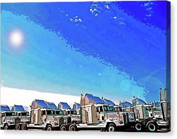 Semi Truckscape 1 Canvas Print by Steve Ohlsen
