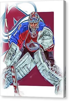 Semyon Varlamov Colorado Avalanche Oil Art Canvas Print by Joe Hamilton