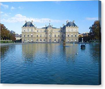 Canvas Print featuring the photograph Senat From Jardin Du Luxembourg by Christopher Kirby