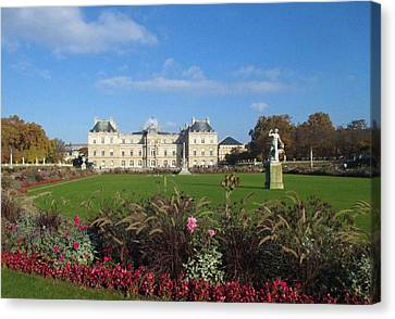 Canvas Print featuring the photograph Senate From Jardin Du Luxembourg by Christopher Kirby