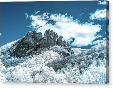Canvas Print featuring the photograph Seneca Rocks In Infrared by Guy Whiteley