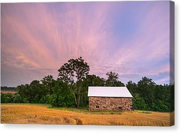 Seneca Stone Barn Looking Southeast Canvas Print by Martin Radigan