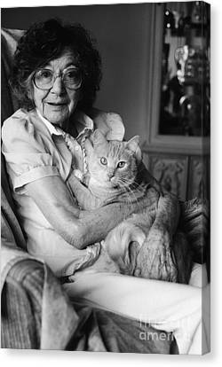 Senior Woman With Cat, C.1980s Canvas Print by H. Armstrong Roberts/ClassicStock