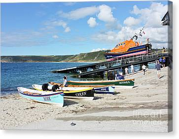 Sennen Cove Lifeboat And Pilot Gigs Canvas Print by Terri Waters