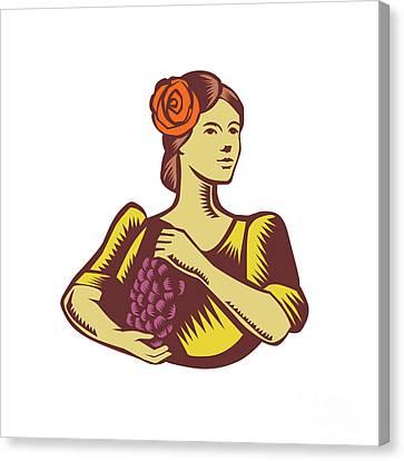 Senorita Holding Grapes Woodcut Canvas Print by Aloysius Patrimonio