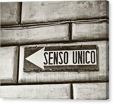 Senso Unico - One Way Canvas Print by Melanie Alexandra Price