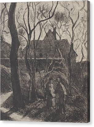 Woman Drawings Drawings Canvas Print - Sentier Des Pouilleux  Pontoise  by Camille Pissarro