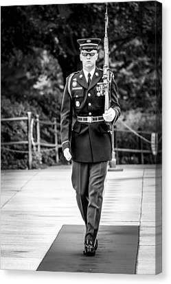 Canvas Print featuring the photograph Sentinel At The Tomb Of The Unknowns by David Morefield
