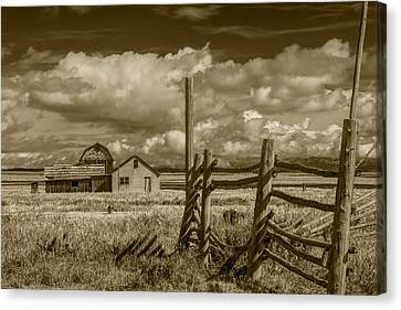 Sepia Colored Image Of The John Moulton Farm On Mormon Row Canvas Print by Randall Nyhof