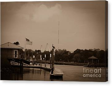 Sepia Dockside On Shem Creek Canvas Print