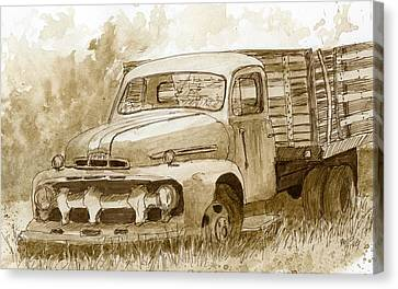 Sepia Ford Truck Sketch Canvas Print by David King