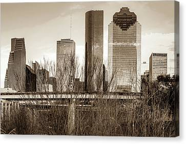 Sepia Houston Texas City Skyline Canvas Print by Gregory Ballos
