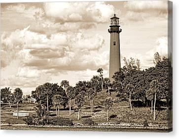 Sepia Lighthouse Canvas Print by Rudy Umans
