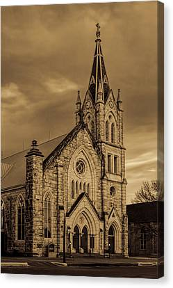Sepia Limestone Church Canvas Print by Linda Phelps