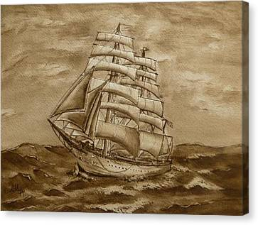 Canvas Print featuring the painting Sepia Oceans Fury by Kelly Mills